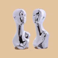 Plastic Chrome Silver Female Abstract Mannequin Display Head MM-SV12