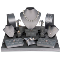 Set of 19 Assorted Jewelry Displays : [Steel Grey Leatherette] MM-ASET79-87R
