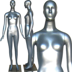 Tracie, High-End Silver Abstract Female Mannequin with face features MM-165SIL