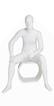 Gloss White Abstract Seated Male Mannequin with facial features MM-XDM6