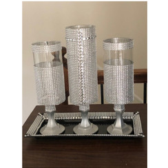Centerpiece Rhinestone Vases/Candle Stick Holders with Tray