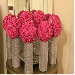 Three Centerpieces Cylinder Vases with Rhinestone Bling
