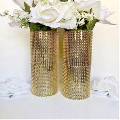 Two Rhinestone Centerpieces Vases