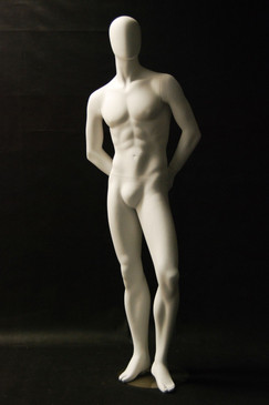 Ray, Matte White Abstract Egg Head Male Mannequin MM-C29W2