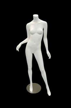 Free Shipping Used Carmen 1, Fiberglass Headless Female Mannequin Matte White MM-A2BW2USED