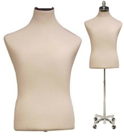 Cream Male Shirt Body Form with Caster Base MM-JF33M01WC