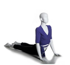 Glossy Pearl White Abstract Yoga Egg Head Female Mannequin MM-YOGA8