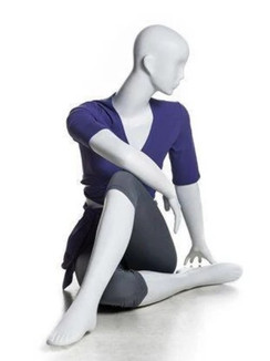 Glossy Pearl White Abstract Yoga Egg Head Female Mannequin MM-YOGA9