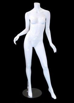 Carmen 1, Fiberglass Headless Female Mannequin Gloss White MM-A2BW1