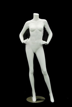 Carmen 3, Fiberglass Headless Female Mannequin Matte White MM-A4BW2
