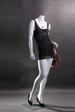 Lisa 4, Fiberglass Headless Female Mannequin Gloss White MM-LISA4BW