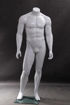 Sean 2, Fiberglass Headless Male Mannequin Gloss White MM-WEN5BW