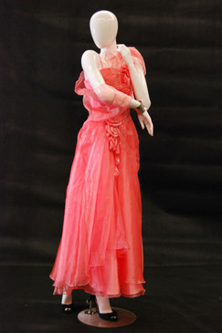 Khloe, Gloss White Abstract Female Mannequin MM-NC5 wearing red dress