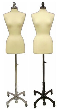 Cream Female Body Form size 2/4 with Caster Base MM-JF2/4C