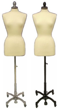 Cream Female Body Form size 6/8 with Caster Base MM-JF6/8C