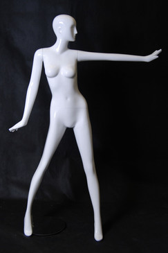 Holly, Gloss White Abstract Egg Head Female Mannequin with face features MM-XD06W-1