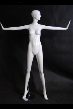 Hailey, Gloss White Abstract Egg Head Female Mannequin MM-XD12W