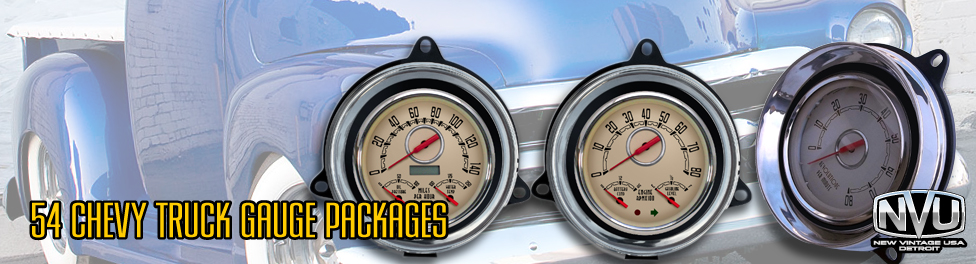 54 Chevy GMC truck gauges from NVU offer bolt in style and performance