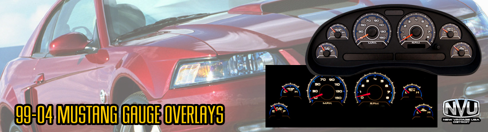 99-04 mustang custom gauges overlays NVU