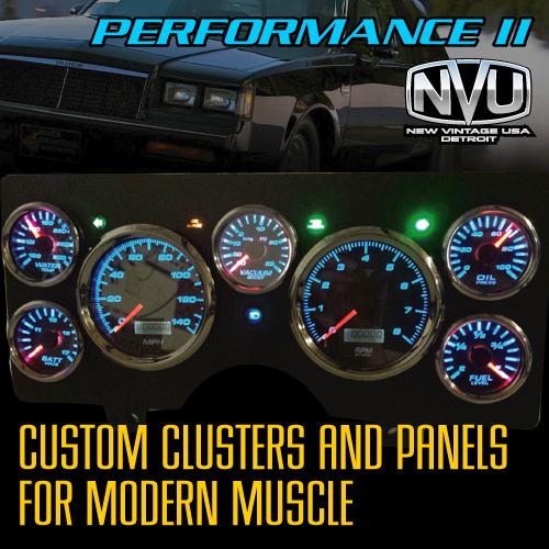 custom dash cluster gauges led buick muscle car