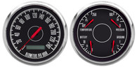 "3-3/8"" 2 GAUGE SET BLACK PROG SPEEDO 240 kph"