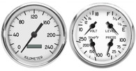 "1940 4 3/8"" 2 GAUGE KIT WHITE PROG SPEEDO 240 KPH"