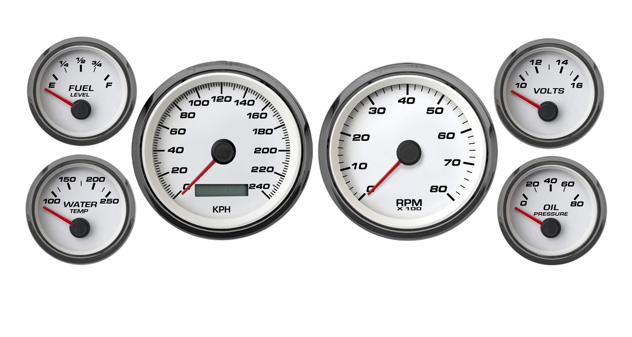 Performance 6 Gauge Kit 3 8 2 1 16 Prog Wht 240 33 Fuel Prosport Wiring Instructions Pro Sport Comp Speedhut Metric Kph Km H Gauges Speedo