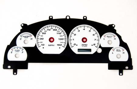 99-04 MUSTANG CLUSTER OVERLAY PERF II WHT