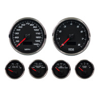 PERFORMANCE 6 GAUGE KIT 4-3/8 2-1/16 PROG  BLACK