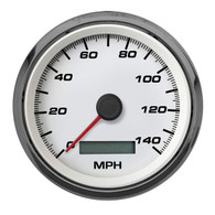 "3-3/8"" PROGRAMMABLE SPEEDOMETER 140 MPH WHT NO SENDER"