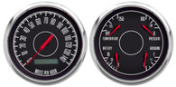 "3-3/8"" 2 GAUGE SET BLACK PROG SPEEDO FORD/CHRY KIT"