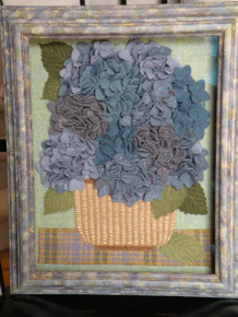 Original artwork shown in a store-bought shadow box frame that has been over-painted to match blooms!