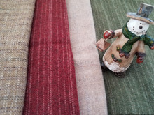 "Tan plaid, red stripe, light tan plaid, green stripe - each piece is a washed/felted fat quarter, approximately 26"" x 16"" in size - for a total of 1 yard of yummy wool, ready to stitch!"