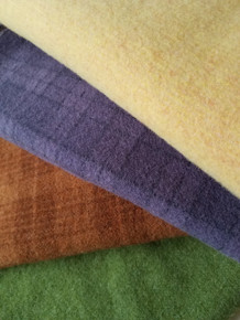 """Warm yellow, purple plaid, orange plaid and green heather - each piece is a washed/felted fat quarter, approximately 26"""" x 16"""" - for a total of 1 yard of happy wool, ready to stitch!"""