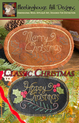 """ONE pattern, TWO versions!  Whether you wish a """"Merry"""" Christmas or a """"Happy"""" one, this is a charming classic ornament!"""