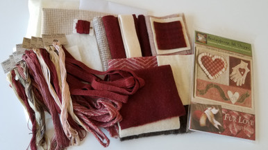 Complete kit shown before putting into shipping bag.  Includes everything to complete the entire design - fabrics, threads, batting, freezer paper and cotton fabric - oh, and the pattern too!