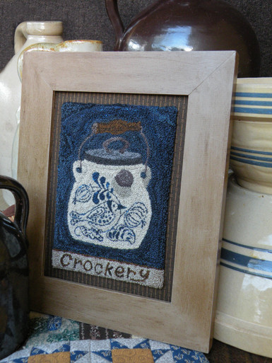 "Our newest punchneedle design - An antique ""batter"" crock with a lovely slip-trailed design!"