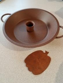 "Rust color with black splatter - metal stand with bonus rusty 3"" pumpkin!"