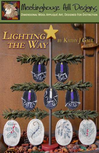 """Lighting the Way... for Christmas!  Our new Advent ornament collection, displayed on our Lighting the Way TREE (sold separately).  Ornaments are 2"""" x 3"""" and  2 1/2"""" x 3 3/4"""", appliqued and embroidered."""