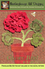Cover photo showing the dimensional blossom petals and leaves!  Such a fun  project to learn the basics of wool applique, AND dimensional design!
