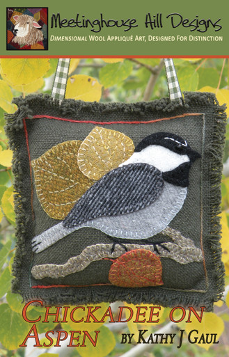 """Chester the Chickadee lives in the mountains of Colorado, and loves autumn!  A sweet and quick project, finishing at 5 1/2"""" x 5 1/2"""", it can be made into a little pillow, door hanger, pin cushion or autumn ornament."""