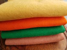 "100% American-made Wool FELT - non woven fabrics.  4 fat quarters, each sized 18"" x 18"".  (A yard of wool felt measures 36"" x 36"".)"