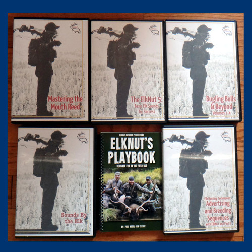 ElkNut's Ultimate Elk Package #12: includes ElkNut's Playbook - Sounds By the Elk CD - Bugling Bulls and Beyond  Volumes 1 thru 4 (four pack) of DVDs - Scouting Elk Country DVD and the two latest ElkNut DVDs: The ElkNut 5: Basic Elk Sounds for Success and Elk Hunting Techniques: Advertising and Breeding Sequences with ElkNut and Paul II