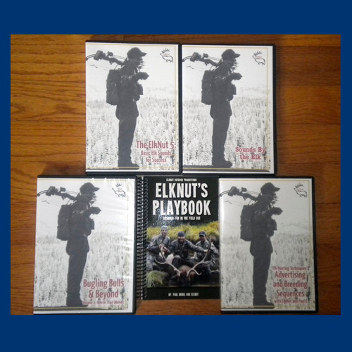 pkg - 9  ElkNuts PlayBook -  Sounds By The Elk - Bugling Bulls and Beyond Vol-4 Worse Than Wolves - and ElkNut's two latest DVDs a combo that pairs his brand new release The ElkNut 5: Basic Elk Sounds for Success DVD (includes bonus MP3 disc with audio only portion from DVD) with his August 2014 release Elk Hunting Techniques: Advertising and Breeding Sequences (also includes bonus MP3 disc with audio only portion from DVD). pkg - 9