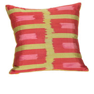 PILLOW: RECTANGULAR RASPBERRY BLOCKS  silk ikat, square