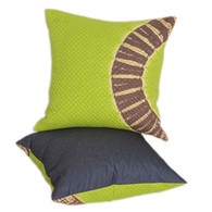 PILLOW: LIME HIP CIRCLE  shibori squares