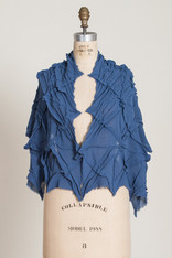 CAPES: GEOMETRIC TUCKED CAPELET #2  blue gauze