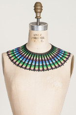 GIFTS: BEADED LACE COLLAR Blue-Green-Black Ombre