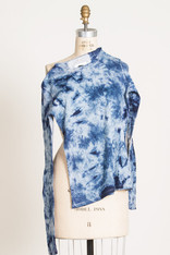 TEES: WAVE SHIBORI #5 LS organic cotton, white/indigo