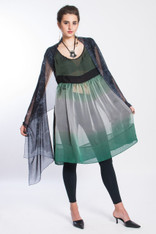 PEONY DRESS: Emerald-Grey Shibori